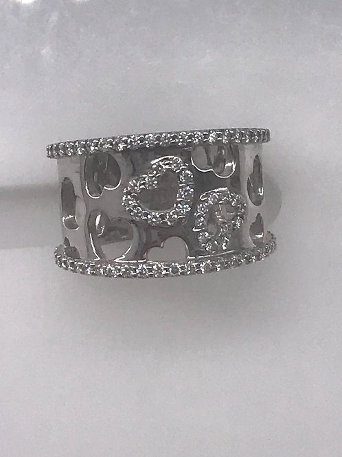 Wide 2 Diamond Heart Cut Outs Band