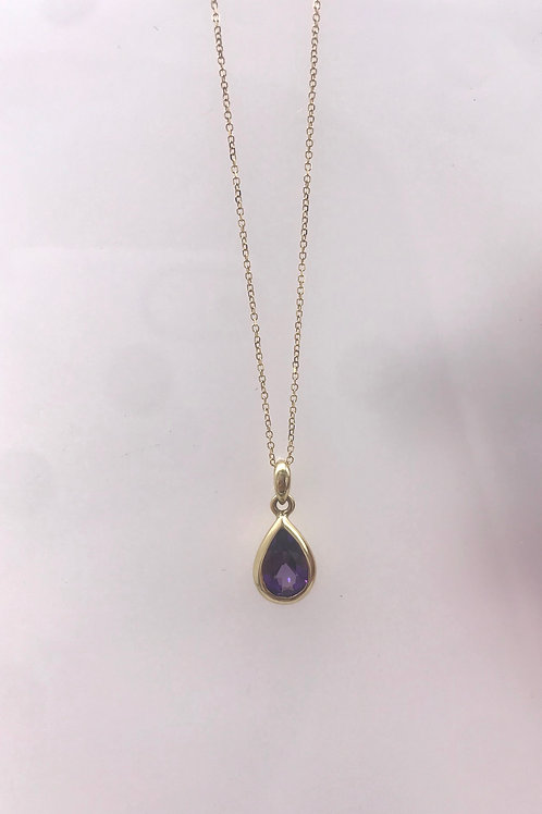 Yellow Gold Pear Shaped Amethyst