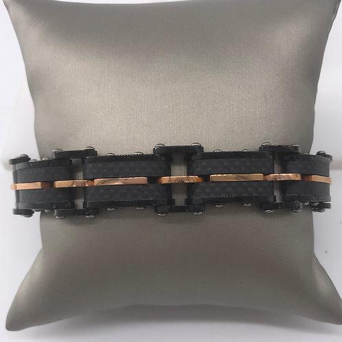 8 in. Micro Fiber Black and Rose Bracelet