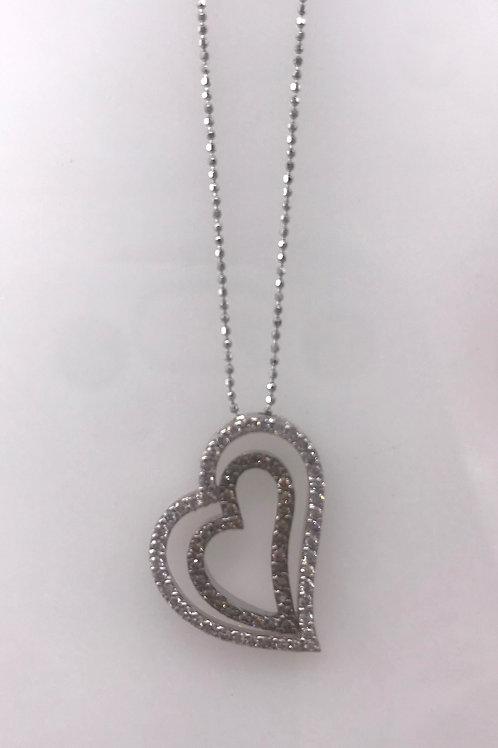Double Diamond Heart Pendant