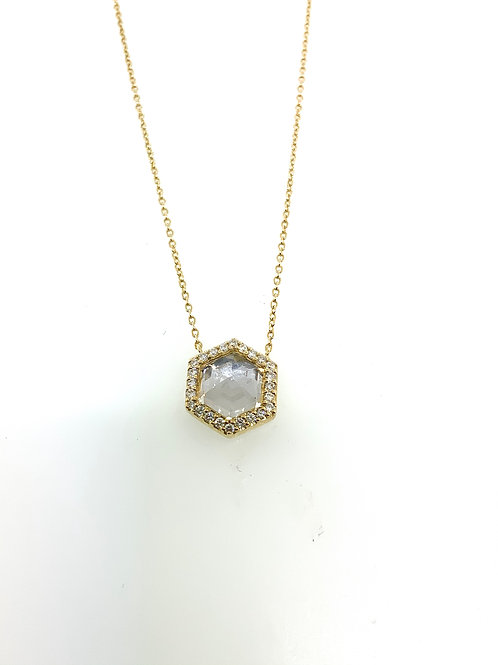 White quartz hexagon necklace