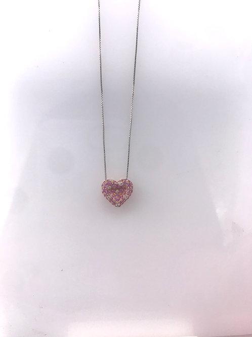 Rose Gold Pave Pink Sapphire Diamond Heart Pendant