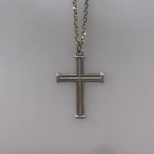 Large Line Sterling Silver Cross