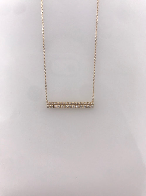 Yellow Gold Two Row Diamond Bar Necklace