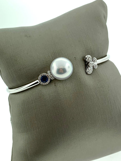 White Gold Sea Pearl, Diamond, and Sapphire Bangle