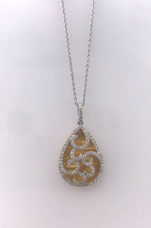Two Tone Pear Shape Drop Pendant with Open Diamond Scroll Pendant