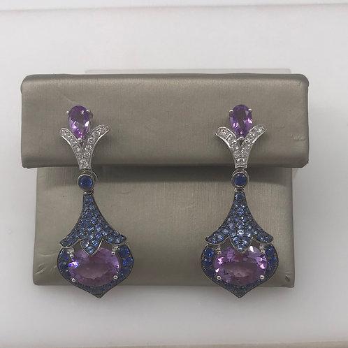 Multi Color Blue and Purple Diamond Earring