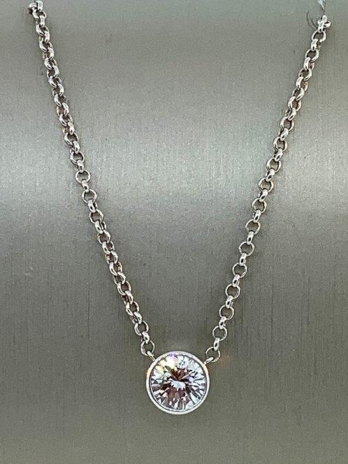 Round bezel diamond necklace
