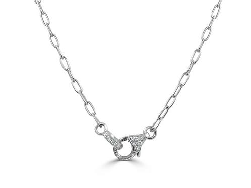 Paper Clip Diamond Clasp Necklace