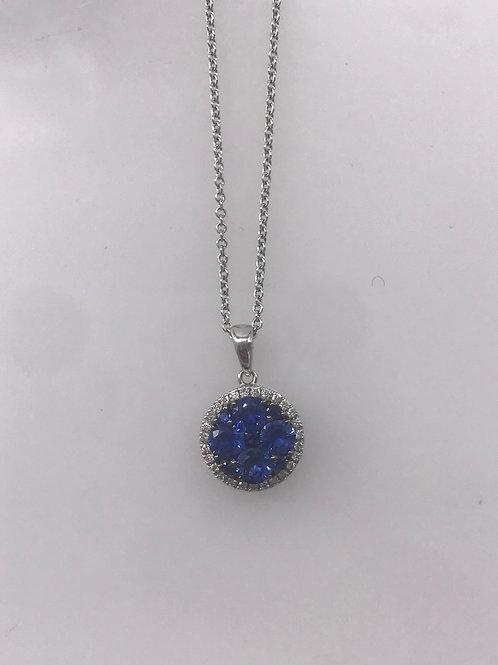 Round Blue Sapphire Diamond Pendant