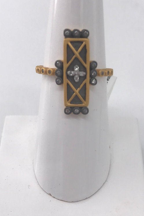 Freida Rothman Sterling Silver Two Tone Rectangle Ring