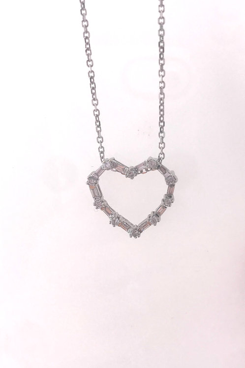 Round and Baguette Diamond Heart Necklace