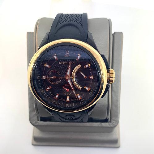 Men's automatic solid gold bezel watch