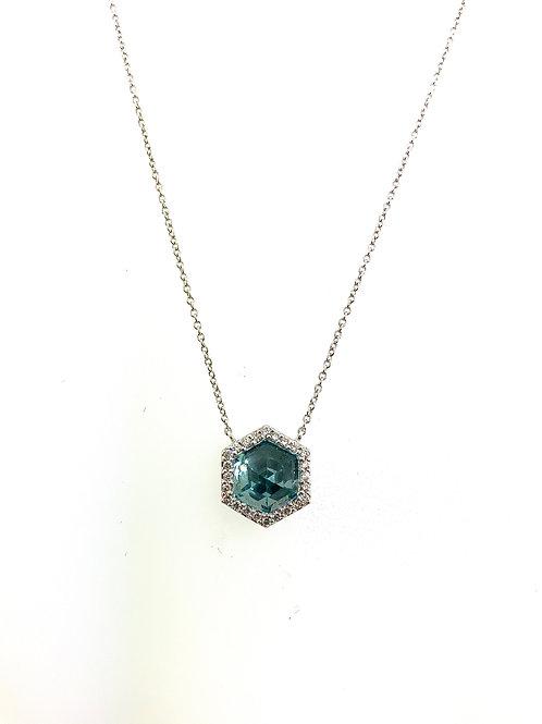Blue topaz hexagon necklace