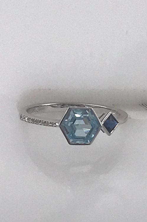Octagon Blue Topaz with Sapphire and Diamond Ring