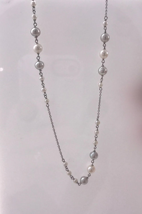 Grey and White Pearl Filigree Diamond White Gold Necklace