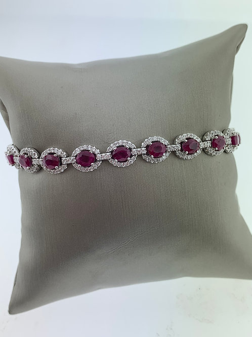 White Gold Ruby Diamond Bracelet