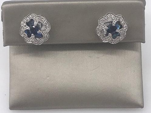 Clover Sapphire Diamond Earring