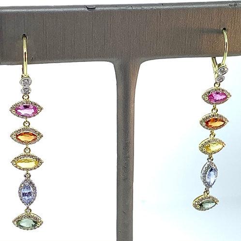 Rainbow dangle earring