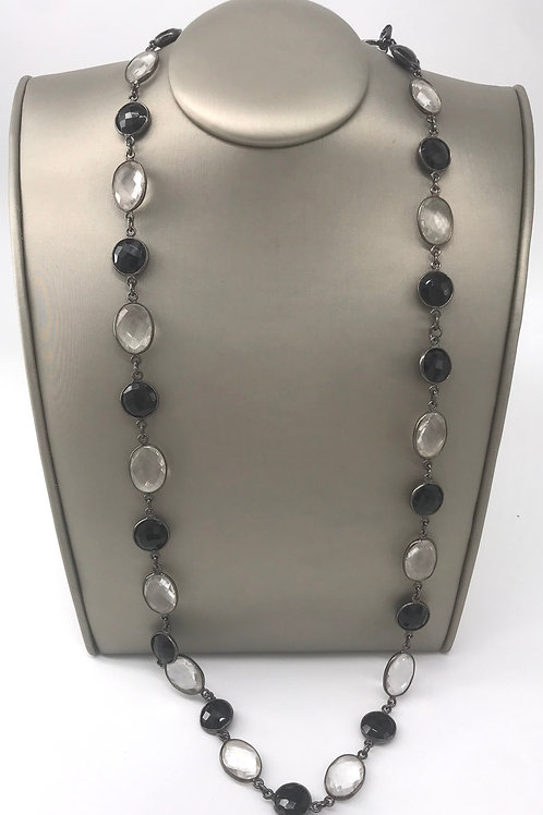 "36"" Sterling Silver Black and White Quartz Necklace"