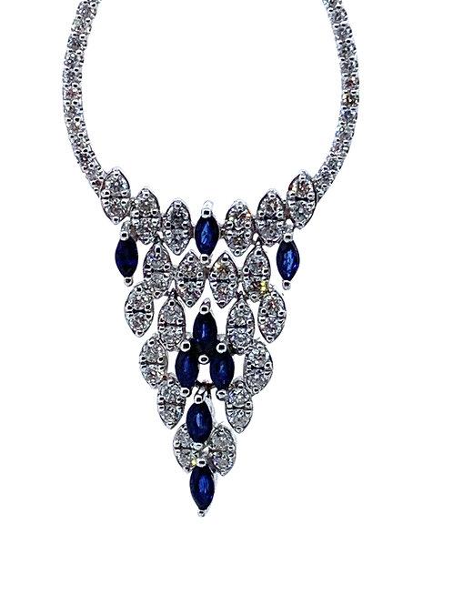 Dangle diamond and sapphire earrings