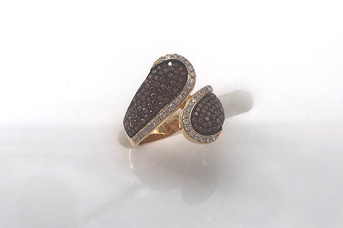 Split Style White and Brown Diamond Fashion Ring