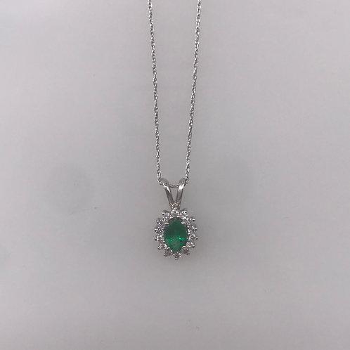 Oval Emerald Diamond Pendant