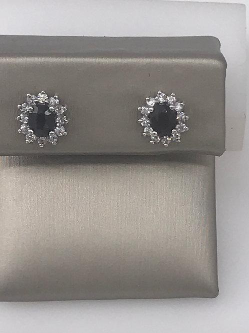 Oval Black Sapphire Diamond Stud