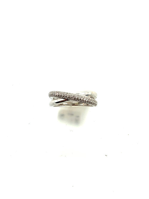 Pave cross over ring
