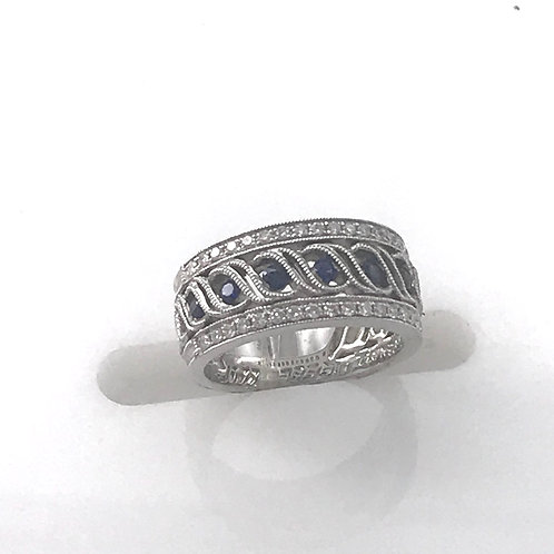 White Gold Sapphire and Diamond Wide Band