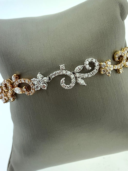 White Gold Diamond Scroll Bracelet