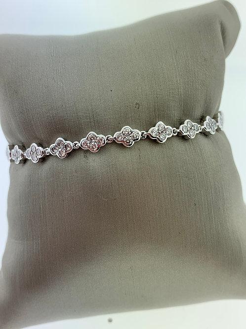 White Gold Diamond Cluster Bracelet