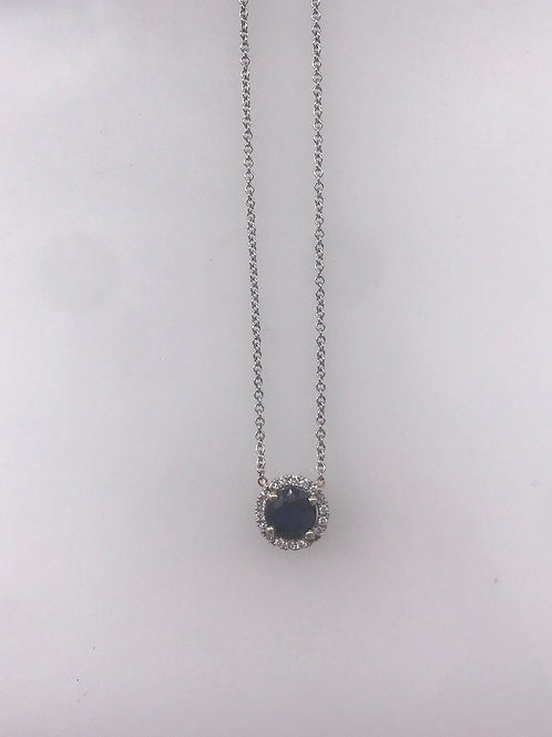 White Gold Genuine Sapphire Diamond Pendant