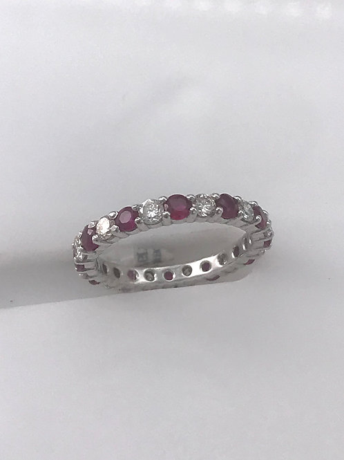 Ruby Diamond Eternity Band with Shared Prong