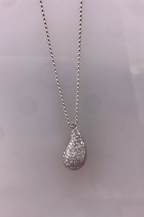 White Gold Pave Diamond Tear Drop Pendant