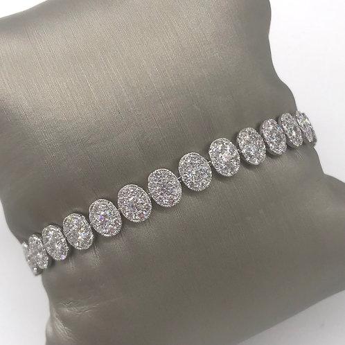 Diamond Oval Cluster Beaded Bracelet