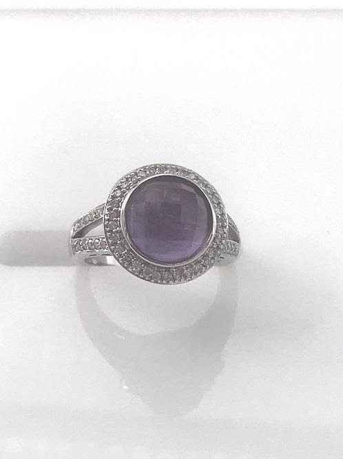 Dome Amethyst Diamond Ring