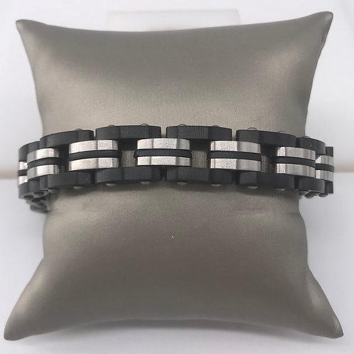 Wide Black Stainless Steel Bracelet