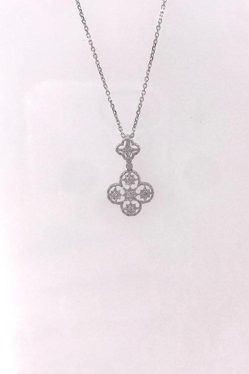White Gold Filigree Diamond Pendant