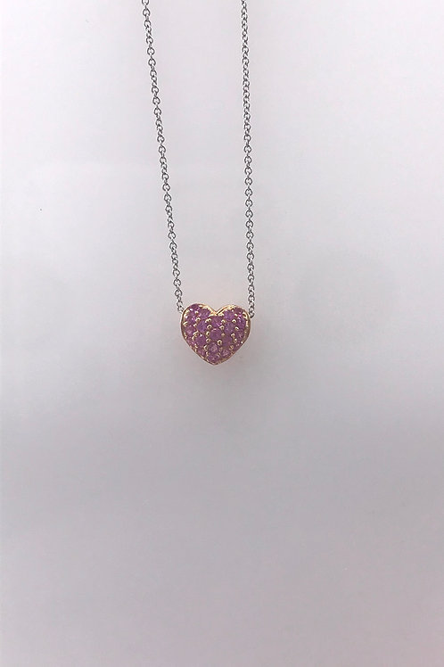 White Gold Pink Sapphire Pave Heart Pendant