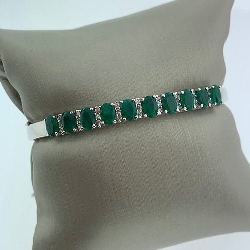 Yellow Gold Rhodium Emerald and Diamond Bangle