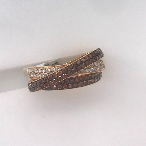 Three Ring White and Brown Diamond Ring