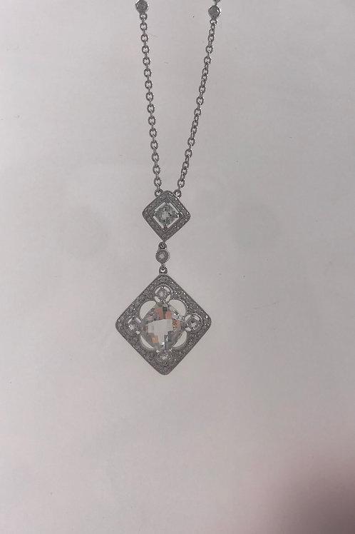 Green Amethyst Diamond 2 Drop Necklace