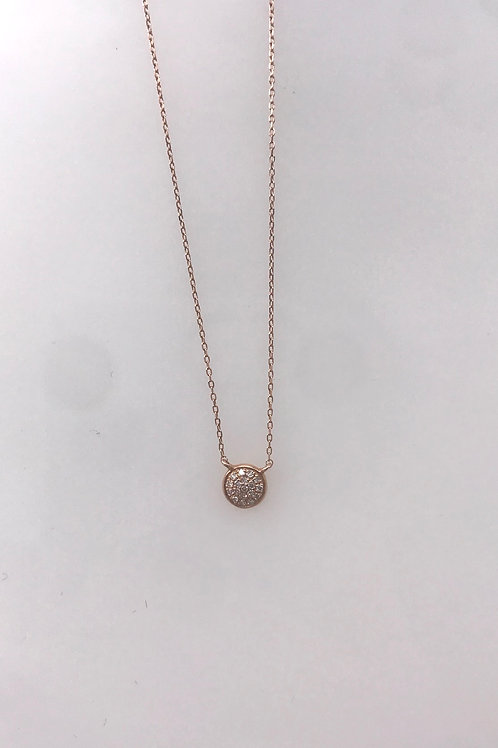 White Gold Tiny Pave Circle Necklace