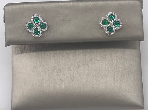 Emerald Diamond Clover Earring