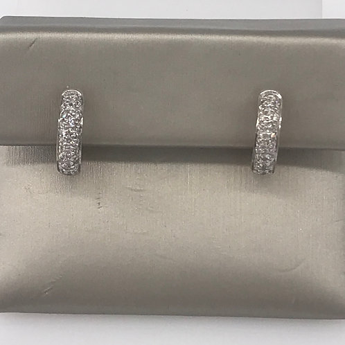 Rhodium Small Huggie Diamond Earring