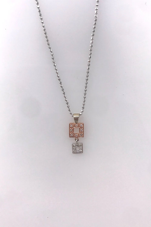 White and Rose Gold Diamond Square Drop Necklace