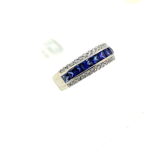 3 row sapphire band