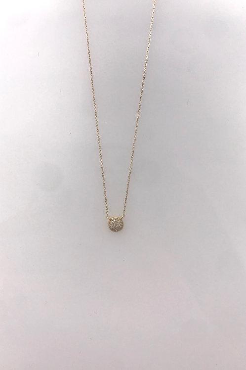 Tiny Pave Circle Necklace