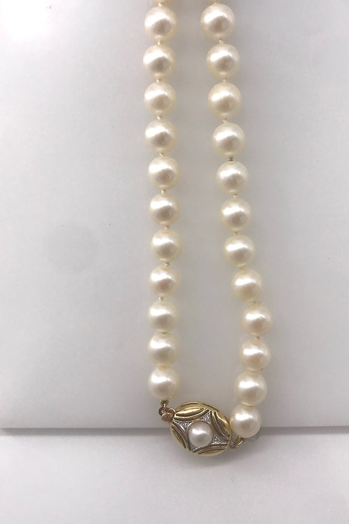 """32"""" 8 mm Cult Pearl Necklace with Gold Clasp"""